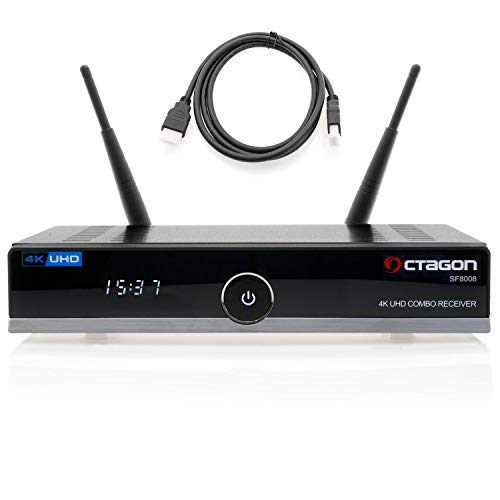 Octagon SF8008 4K HDR UHD Sat-Receiver mit Kabel DVB-T2 Tuner H.265 E2 Linux Dual WiFi DVB-S2X & T2C Combo