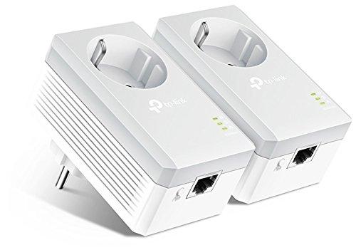 TP-Link TL-PA4010P KIT 600Mbit/s 2-Ports Passthrough Steckdose Powerline Adapter Set (2x10/100Mbit/s-Ethernet-Port, Plug & Play, energiesparend, kompatibel zu allen gängigen Powerline Adaptern) weiß