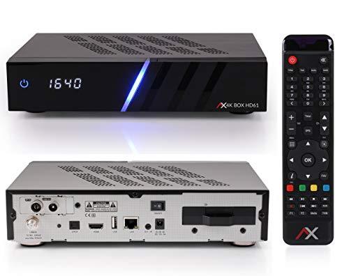 AX HD61 4K UHD E2 Linux Combo Receiver für Sat- Kabel- & DVB-T-Fernsehen, mit DVB-S2X & DVB-C/T Tuner, PVR Aufnahmefunktion, IPTV, HDTV, HDR, mit HDMI Kabel [vorprogrammiert für Astra & Hotbird]