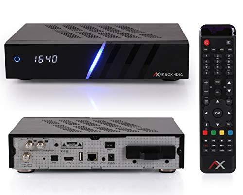 AX HD61 4K UHD E2 Linux Digitale Twin Sat-Receiver mit 2X DVB-S2X Tuner, PVR Aufnahmefunktion, HDTV, HDR, IPTV, Festplatte, für Satelliten Satellite, HDMI Kabel [vorprogrammiert für Astra & Hotbird]