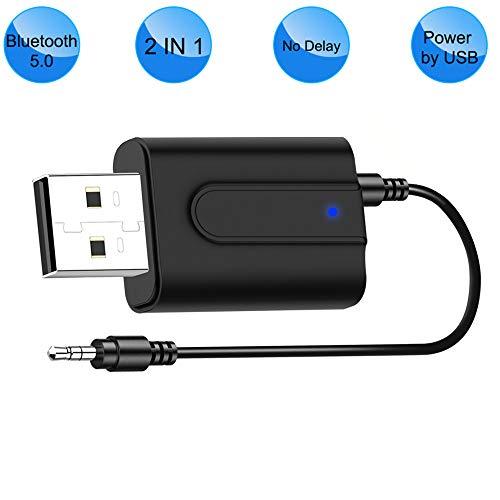 Bluetooth 5.0 Sender Empfänger Klinke 3.5, Mini Drahtlos USB Transmitter Receiver Bluetooth Audio Adapter für TV, Kopfhörer, Heim Stereoanlage und Auto Soundsysteme [Power by USB, Low Latency]