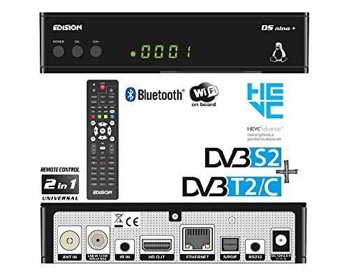 Edision OS NINO+ Full HD Linux E2 Combo-Receiver H.265/HEVC (1x DVB-S2, 1x DVB-T2/C, WLAN onboard, Bluetooth onboard, 2x USB, HDMI, LAN, Linux, Kartenleser) schwarz