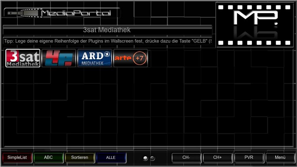 Mediaportal Startoberfläche