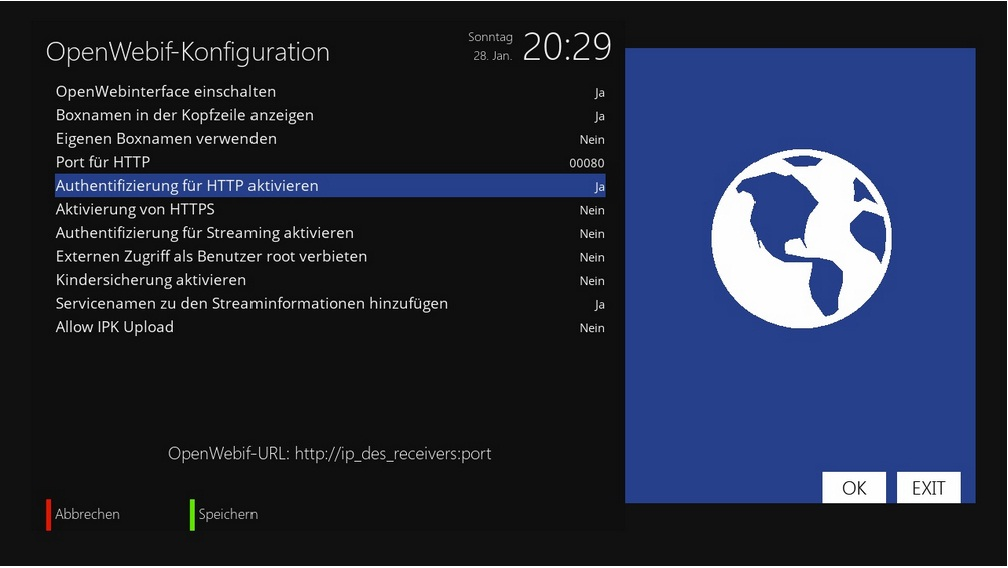 OpenWebif-Konfiguration