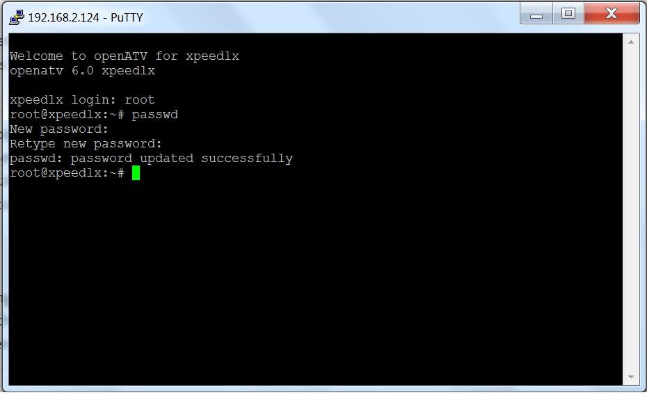 Passwortänderung in Putty mittels passwd