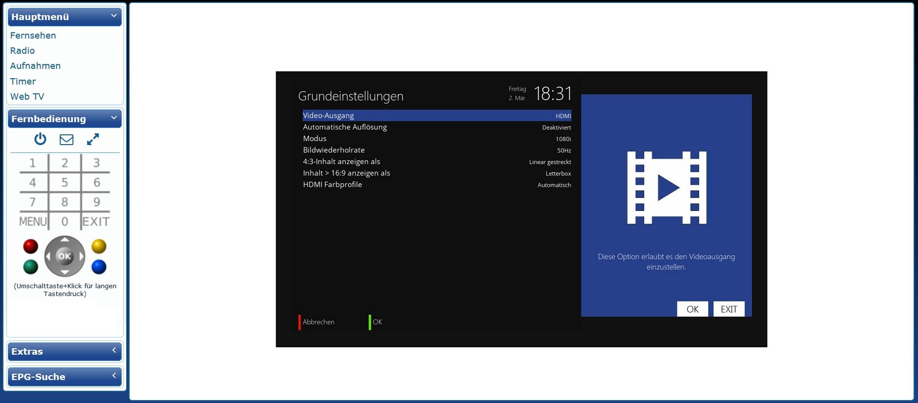 Bild-Grundeinstellungen OpenATV 4K UHD Box HD51