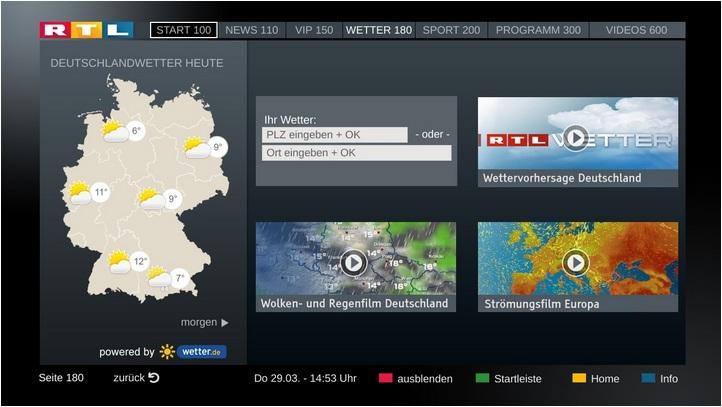 HbbTV Wetter Navigation