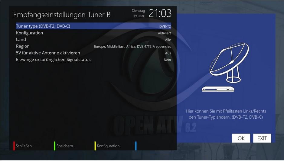 DVB-T2 Tunerkonfiguration