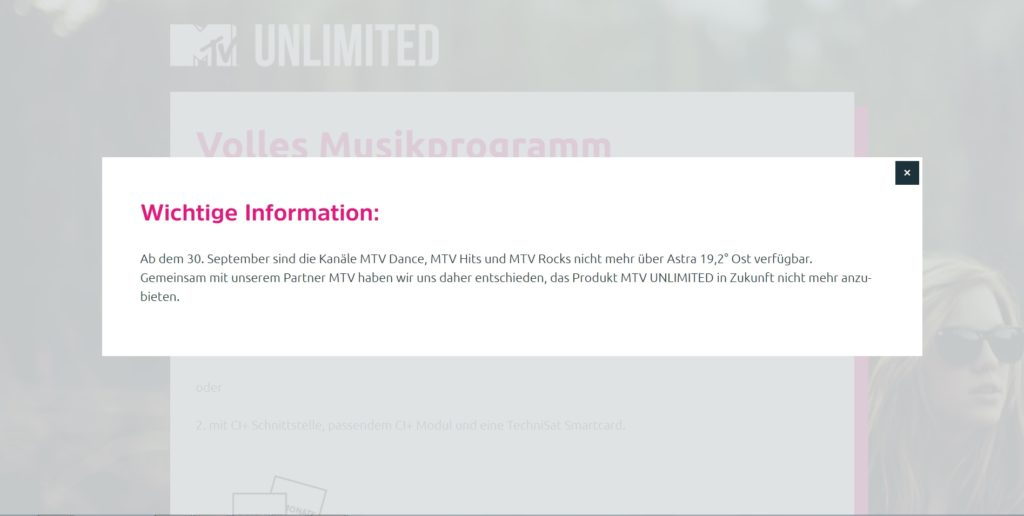 MTV Unlimited Homepage Hinweis