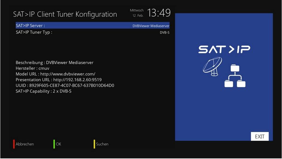 SAT>IP Klient Tuner Konfiguration