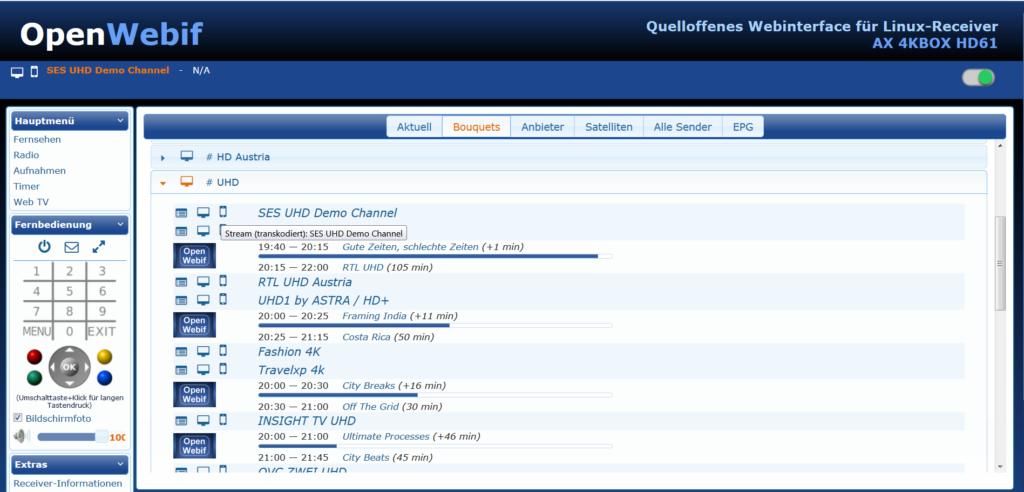 AX 4K-Box HD61 OpenWebInterface
