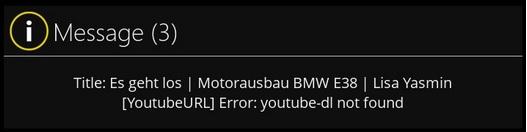 YouTube Fehlermeldung im Mediaportal